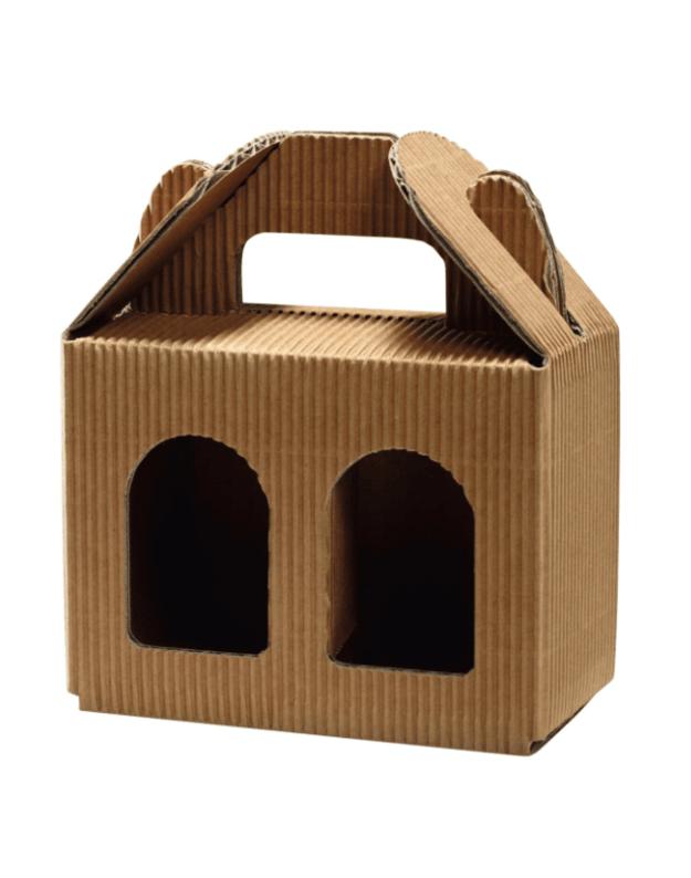 Kartoninė dėžutė stiklainukams, ruda, 2x192