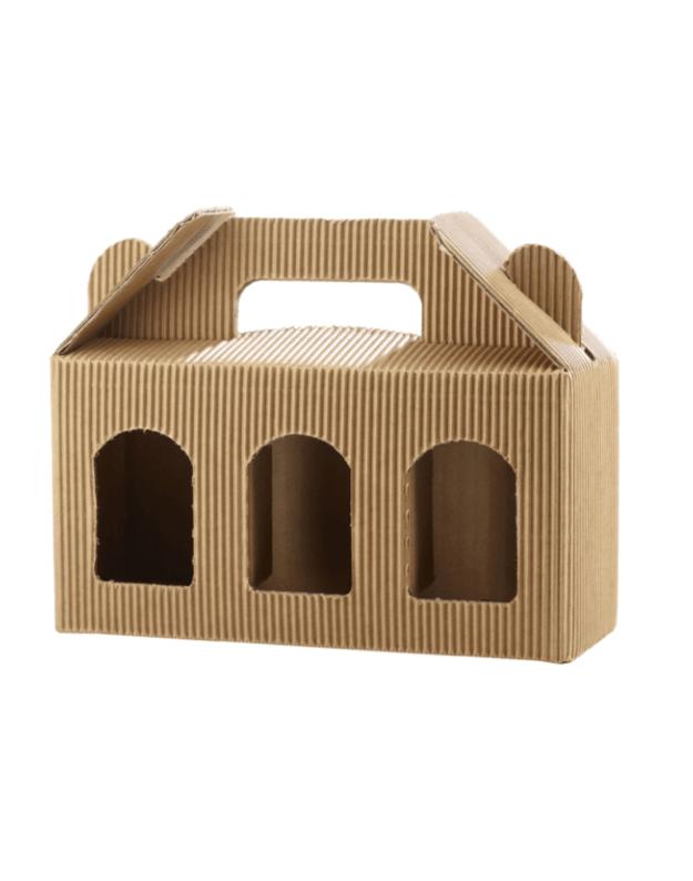 Kartoninė dėžutė stiklainukams, ruda, 3x192